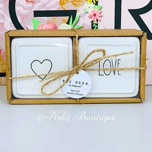 💗RAE DUNN {LOVE} Trendy Jewelry Boxes Set Of 2